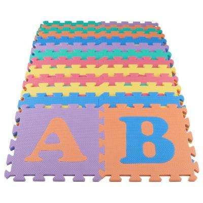 Multi-Color 12 in. x 12 in. x 0.43 in. ABC Playroom Floor (26-Pack)