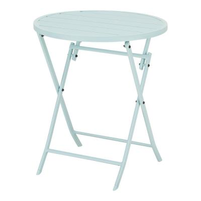 Mix and Match Seabreeze Blue Round Steel Folding Outdoor Bistro Table
