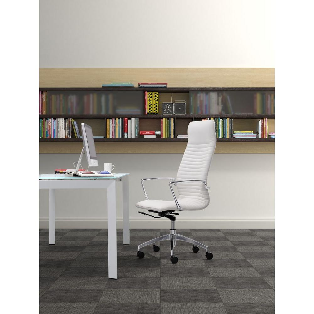ZUO Lion White Leatherette High Back Office Chair