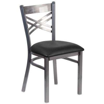 Hercules Black Vinyl Seat/Clear Coated Metal Frame Side Chair