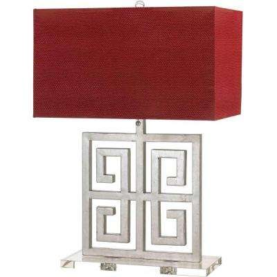 Santorini 25.5 in. Silver Table Lamp with Red Faux Leather Shade
