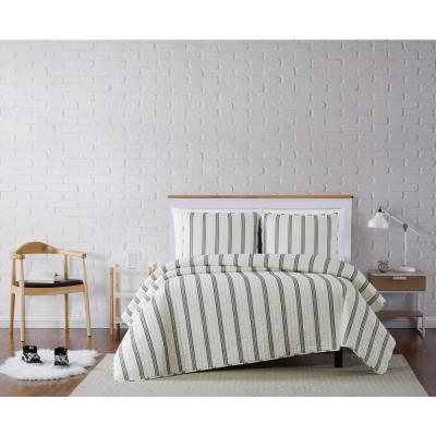 Millenial Stripe Ivory and Black Full/Queen 3-Piece Quilt Set