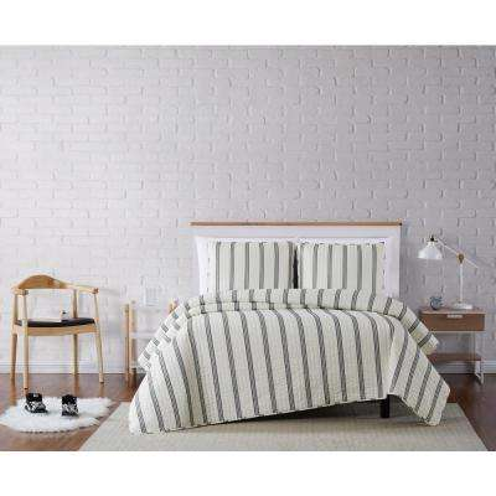 Millenial Stripe Ivory and Black Twin XL 2-Piece Quilt Set