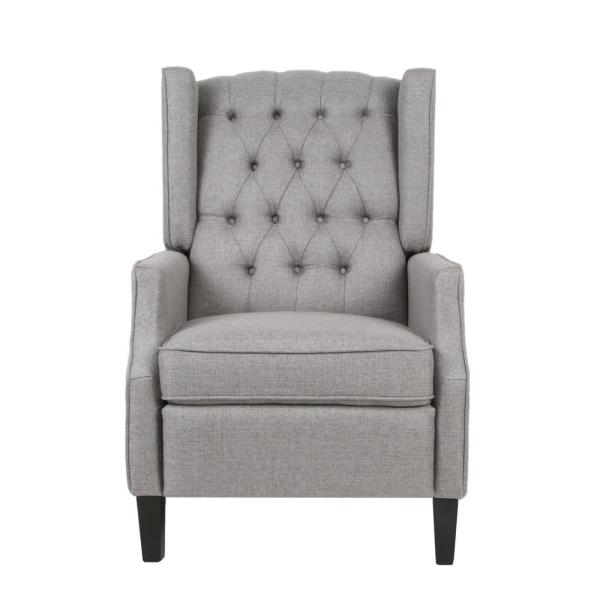 Keating Traditional Tufted Back Gray Fabric Wingback Recliner