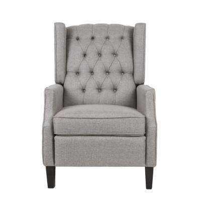 d56421d60177 Keating Traditional Tufted Back Gray Fabric Wingback Recliner · New Noble  House ...