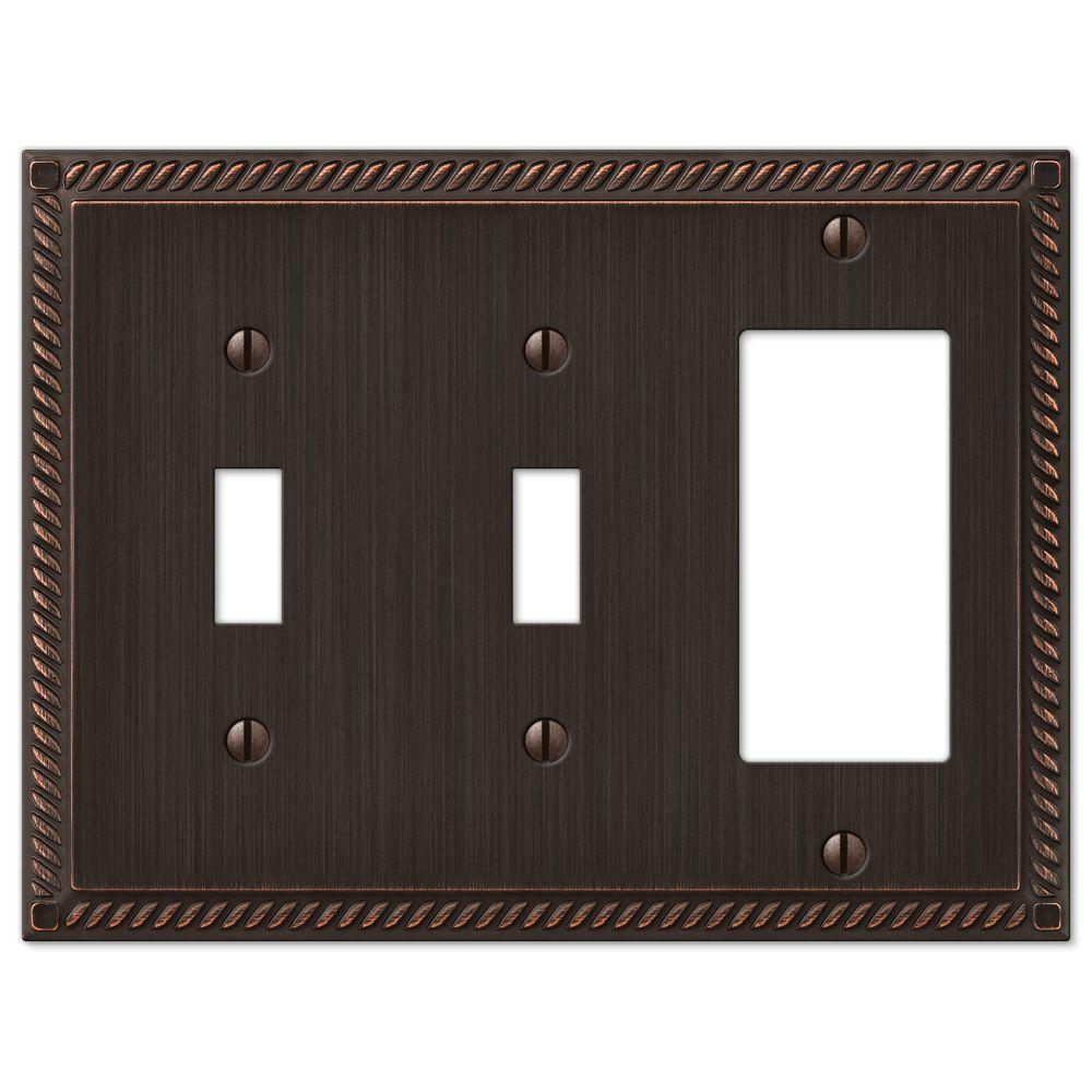 Georgian 2 Toggle 1 Decora Combination Wall Plate - Aged Bronze