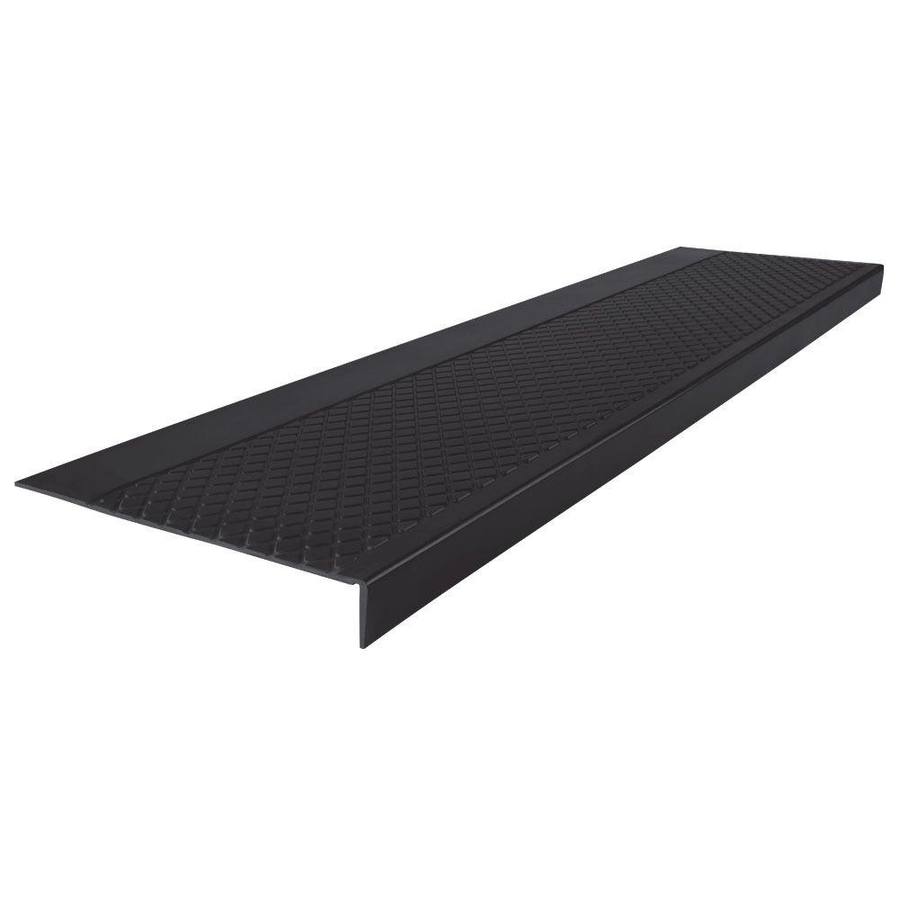 Gentil ROPPE Diamond Profile Black 12 In. X 54 In. Square Nose Stair Tread Cover
