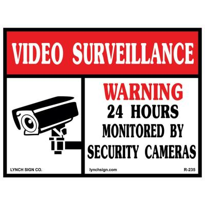 14 in. x 10 in. Video Surveillance Sign Printed on More Durable, Thicker, Longer Lasting Styrene Plastic