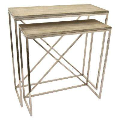 32.5 in. Silver Metal and Wood Table (Set of 2)