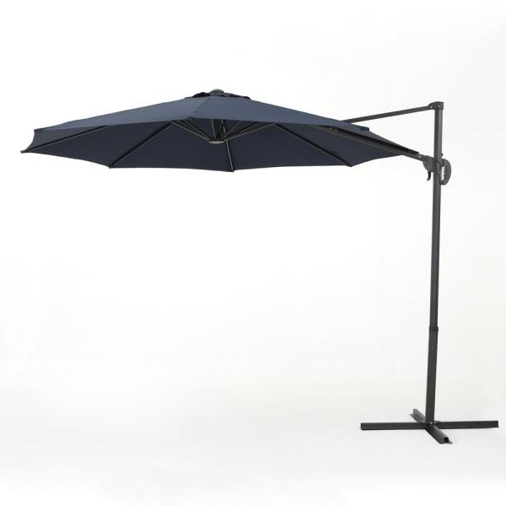 Sofia 9.5 ft. Steel Cantilever Tilt Patio Umbrella in Blue