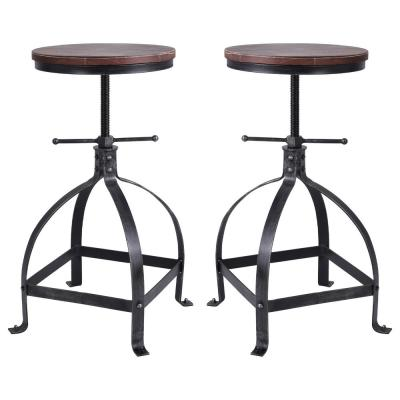 Palmer Adjustable Silver Brushed Gray Barstool (Set of 2)