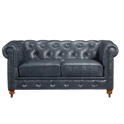 Gordon Blue Leather Loveseat