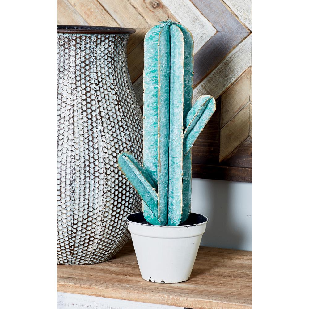 Cactus with Pot Iron Sculpture