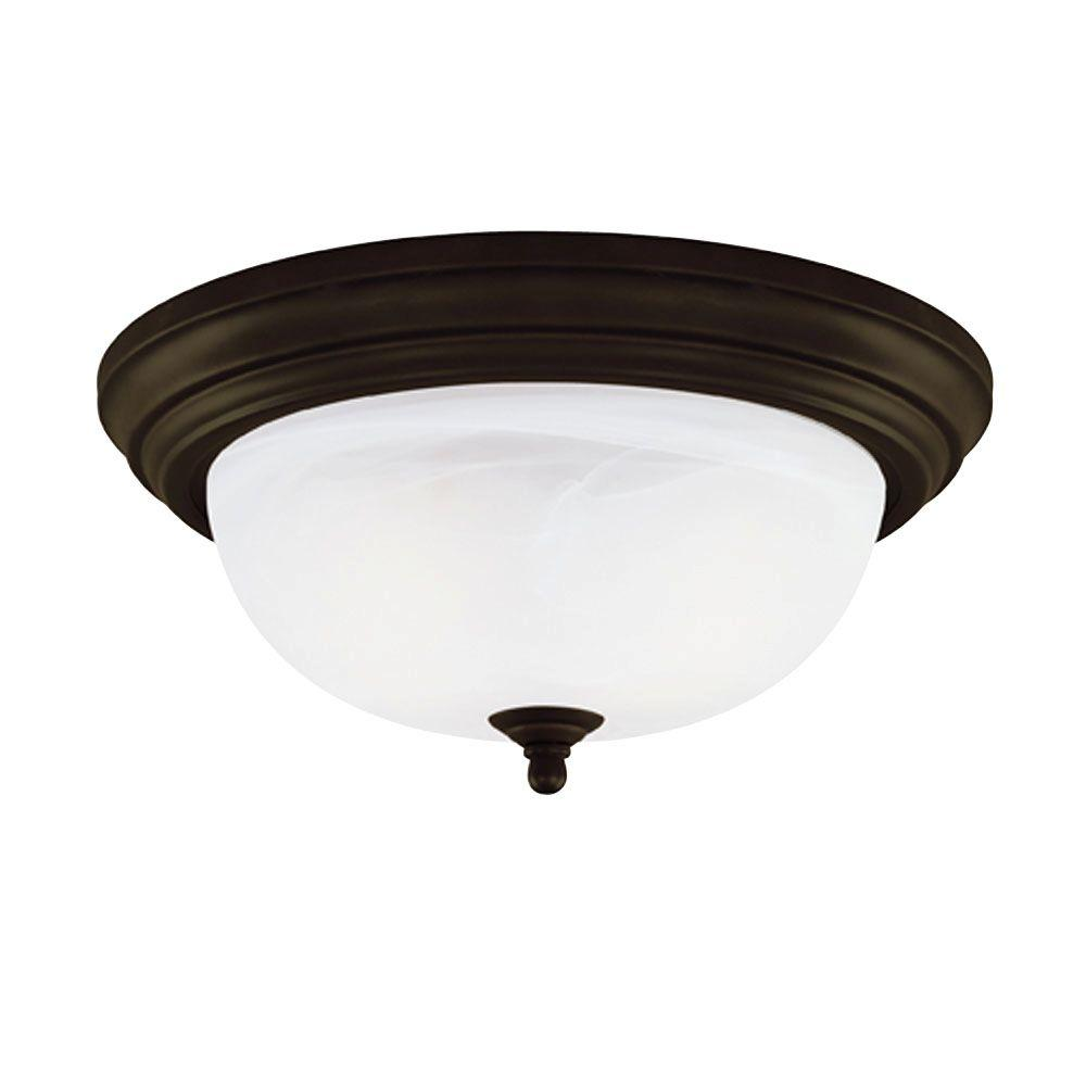 1-Light Ceiling Fixture Oil Rubbed Bronze Interior Flush-Mount with Frosted