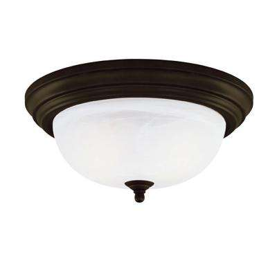 1-Light Ceiling Fixture Oil Rubbed Bronze Interior Flush-Mount with Frosted White Alabaster Glass