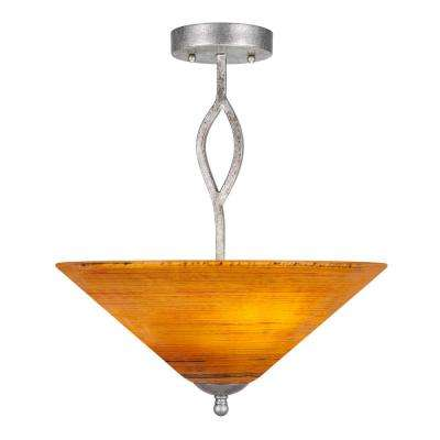 16 in. 3-Light Aged Silver Semi-Flush Mount with Firr Saturn Glass