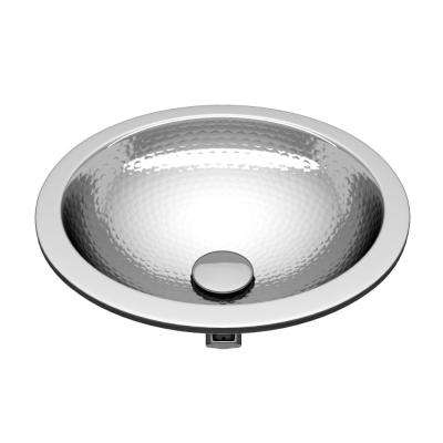 Celestial 14 in. Handmade Drop-In Oval Bathroom Sink with Overflow in Hammered Nickel