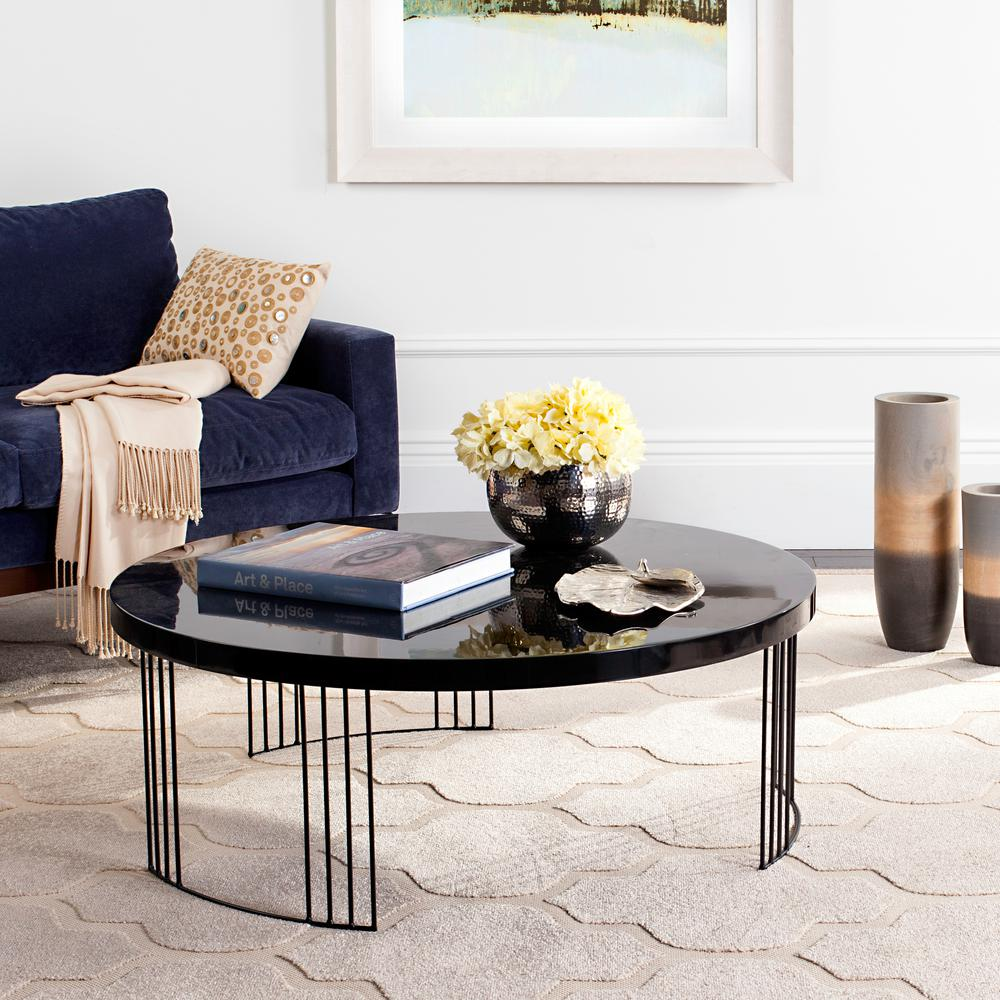 Keelin Mid Century Scandinavian Lacquer Black Coffee Table