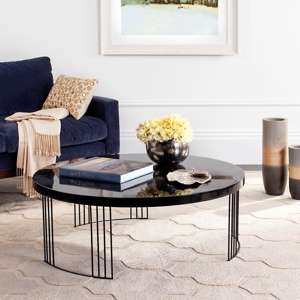 Keelin 38 in. Black Medium Round Wood Coffee Table
