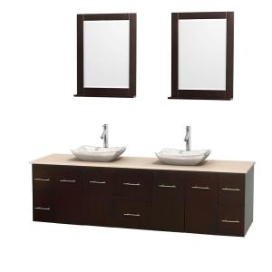 Wyndham Collection Centra 80 inch Double Vanity in Espresso with Marble Vanity Top in Ivory, Carrera Marble Sinks and 24... by Wyndham Collection