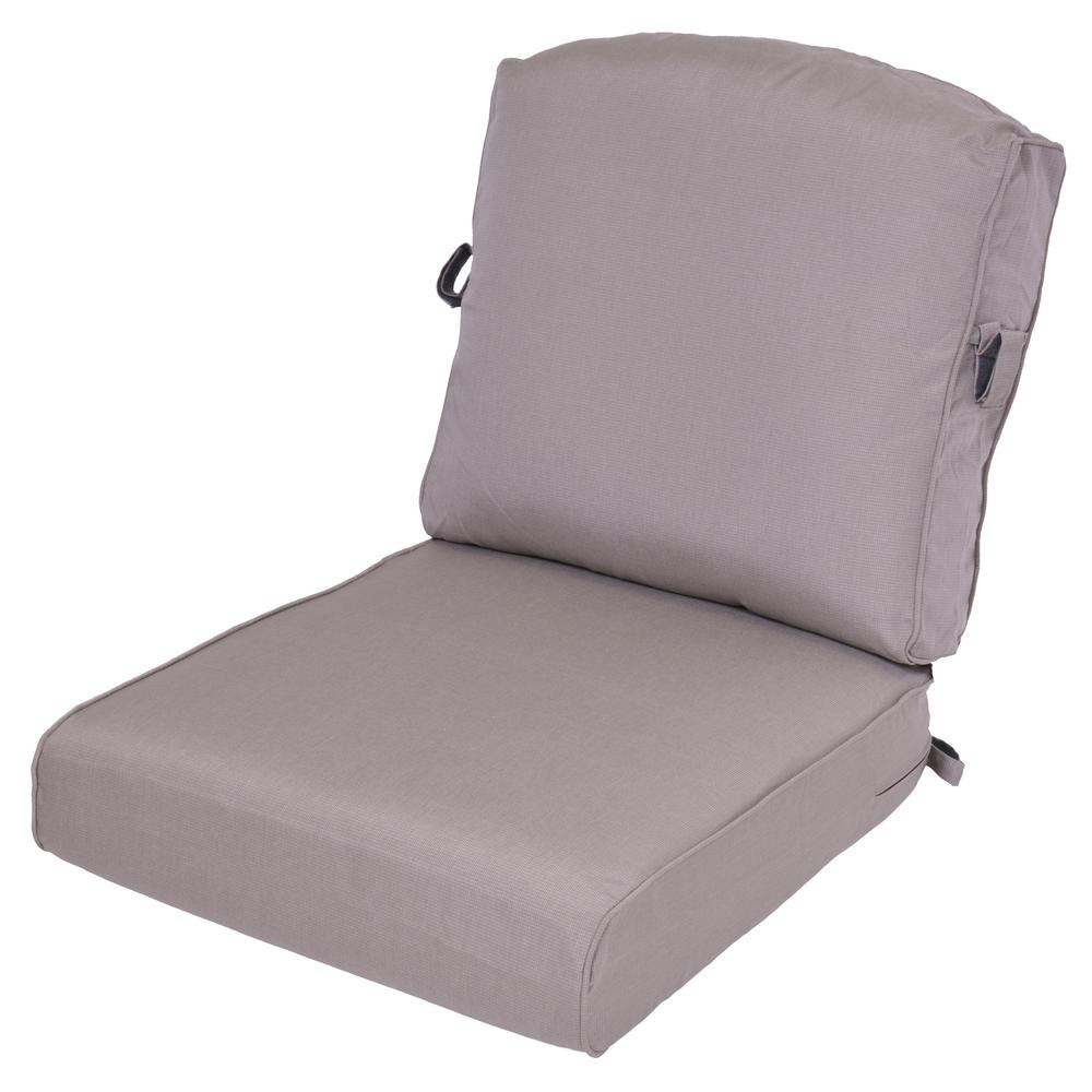 Gray 2-Piece Deep Seating Outdoor Lounge Chair Cushion (2-Pack)