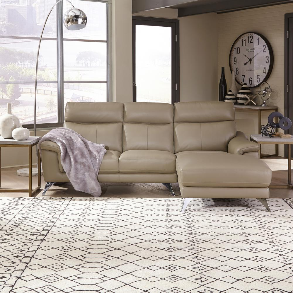 Leather Sofa Beige: HOMESTYLES Moderno Beige Leather Contemporary Upholstered