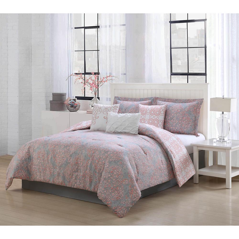 Unbranded Magic 7 Piece Blush Pink/Grey Queen Comforter Set