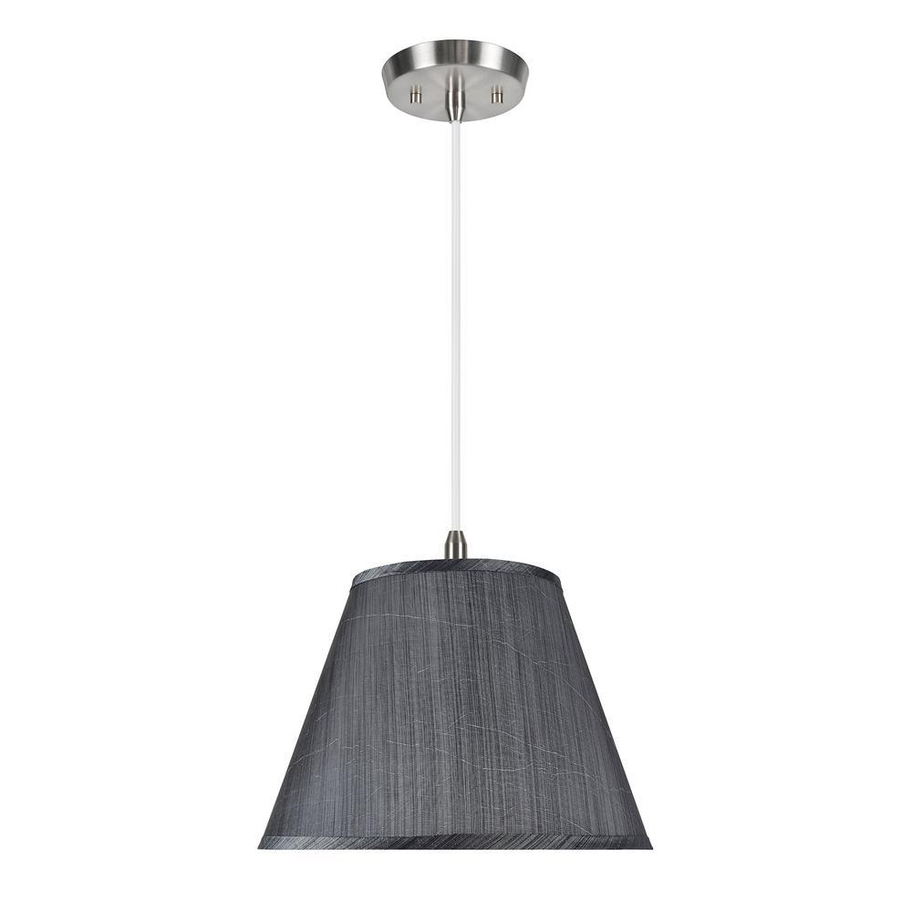 1-Light Satin Nickel Pendant with Grey and Black Hardback Empire Fabric Shade