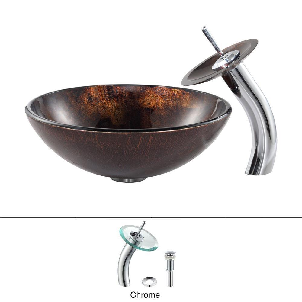 Pluto Glass Vessel Sink in Brown with Waterfall Faucet in Chrome