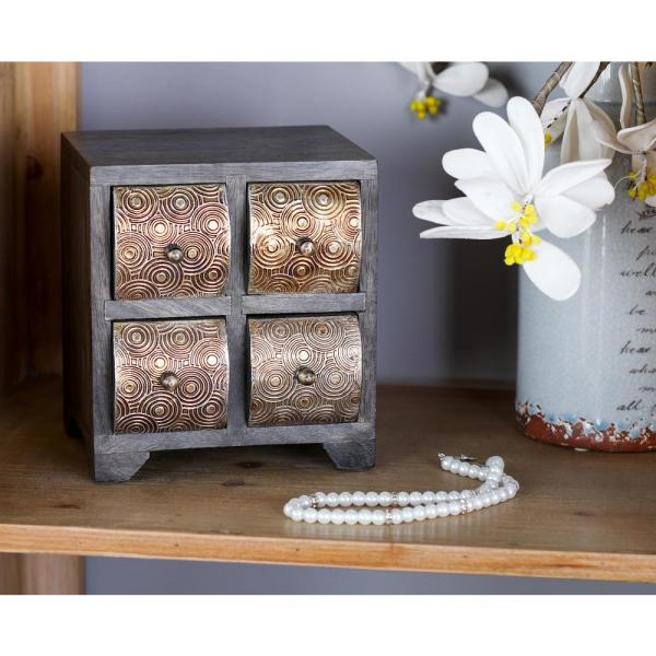 Litton Lane Dark Brown Square Jewelry Chest with 4-Curved Paneled Drawers
