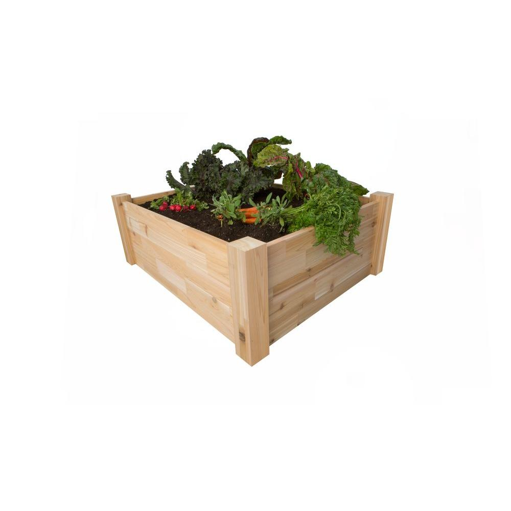 PatioCraft Product of North America 48 in. x 48 in. x 14 in. 100% Canadian Western Red Cedar Raised Bed Planter