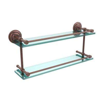 Que New 22 in. L x 8 in. H x 5 in. W 2-Tier Clear Glass Bathroom Shelf with Gallery Rail in Antique Copper