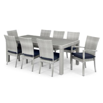 Cannes 9-Piece Wicker Patio Dining Set with Blue Cushions