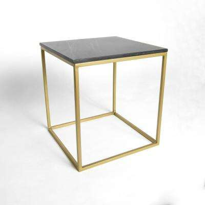 Marble Black Square Accent Table