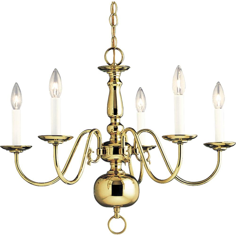Progress Lighting Americana Collection 5-Light Polished Brass Chandelier