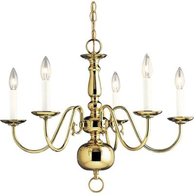 Americana Collection 24 in. 5-Light Polished Brass Chandelier