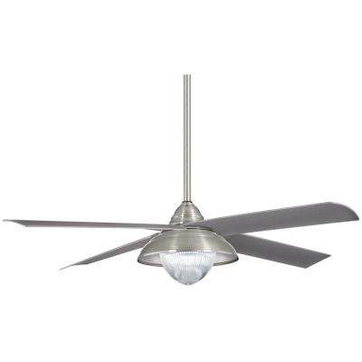 Shade 56 in. Integrated LED Indoor/Outdoor Brushed Nickel Wet Ceiling Fan with Light with Remote Control