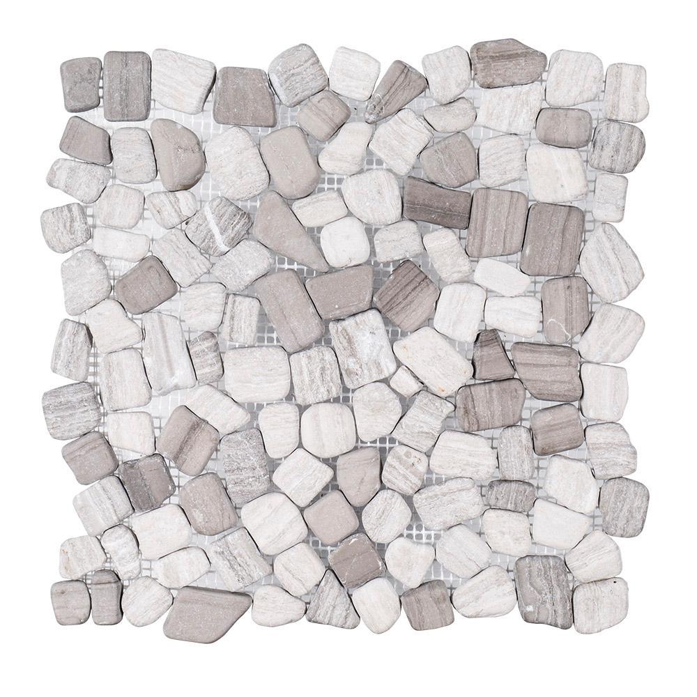 Jeffrey Court Bailey Grey Pebble 12 In X 12 In X 10 Mm