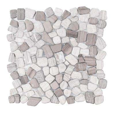 Bailey Grey Pebble 12 in. x 12 in. x 10 mm Honed Marble Stone Mosaic Tile