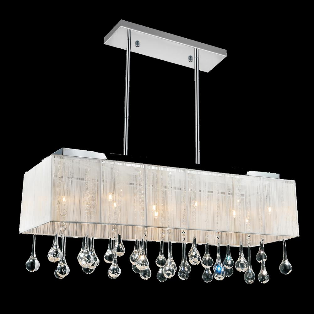 CWI Lighting Water Drop 10-Light Chrome Chandelier with White shade