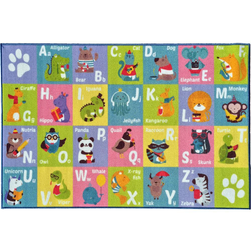 Multi Color Kids Children Bedroom Playroom ABC Alphabet Animal Educational Learning 8 ft. x 10 ft. Area Rug