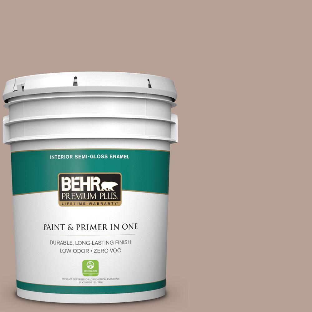 BEHR Premium Plus 5 gal. #N190-4 Rugged Tan Semi-Gloss Enamel Zero VOC Interior Paint and Primer in One