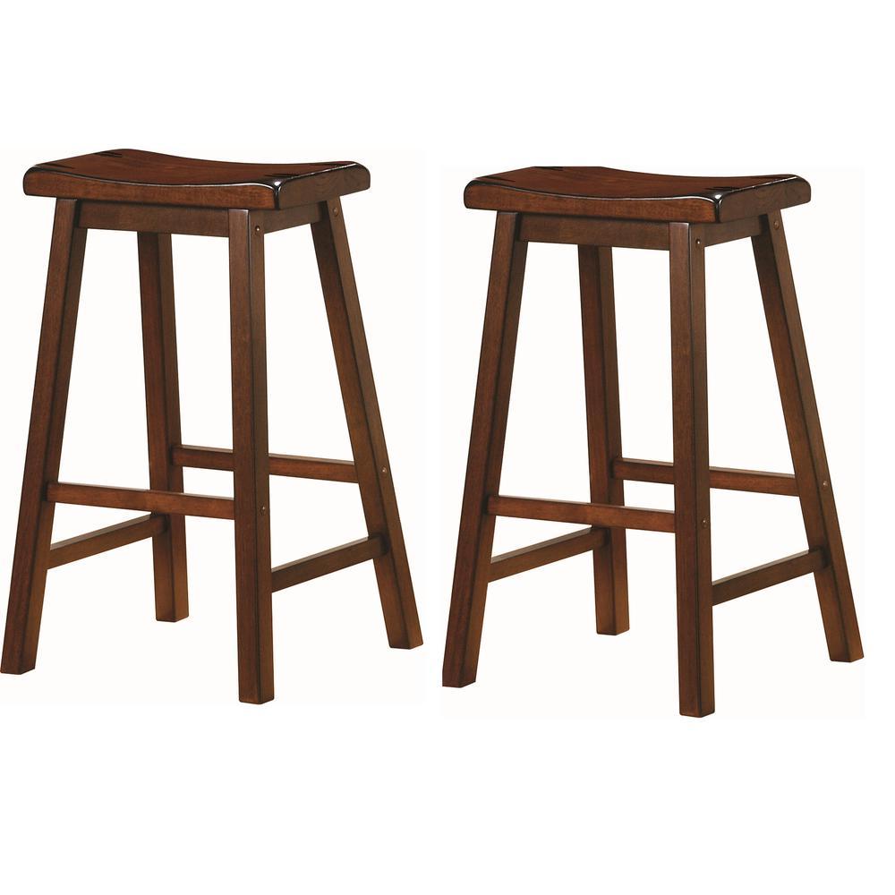 Wooden 29 in. Bar Stools Chestnut (Set of 2)