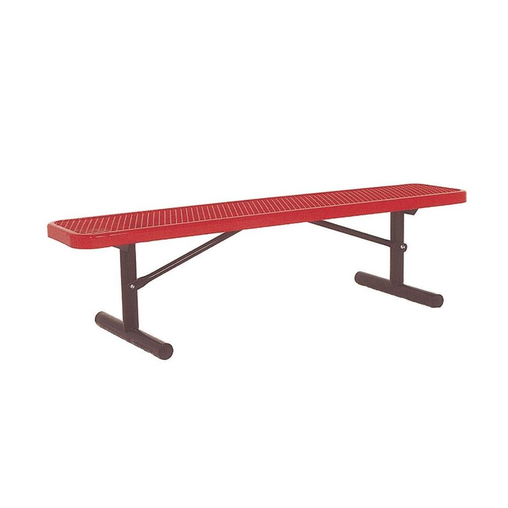 6 ft. Diamond Red Portable Commercial Park Bench without Back Surface
