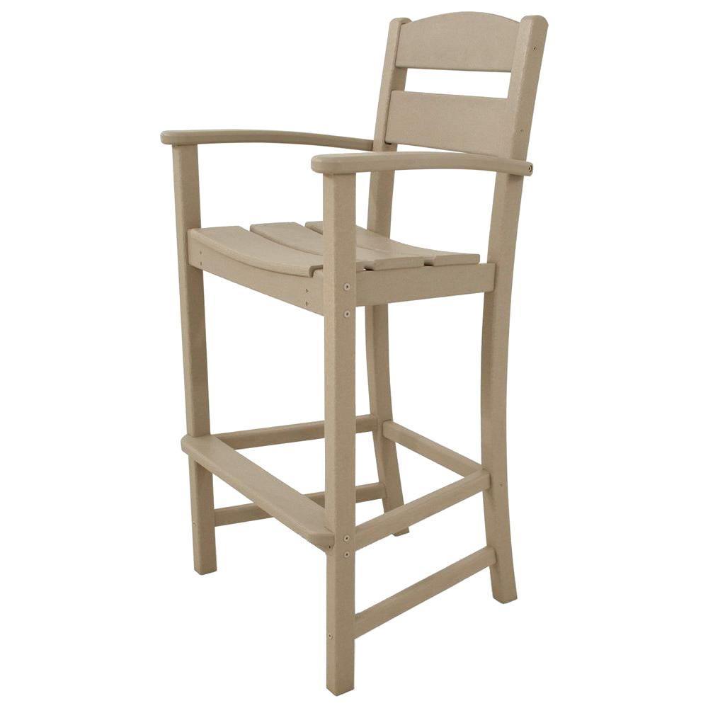 Classics Sand Plastic Outdoor Patio Bar Arm Chair
