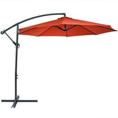 10 ft. Stainless Steel Offset Cantilever Patio Umbrella in Burnt Orange
