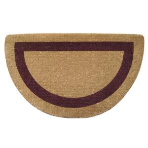 Single Picture Frame Brown 22 in. x 36 in. Half Round HeavyDuty Coir Door Mat