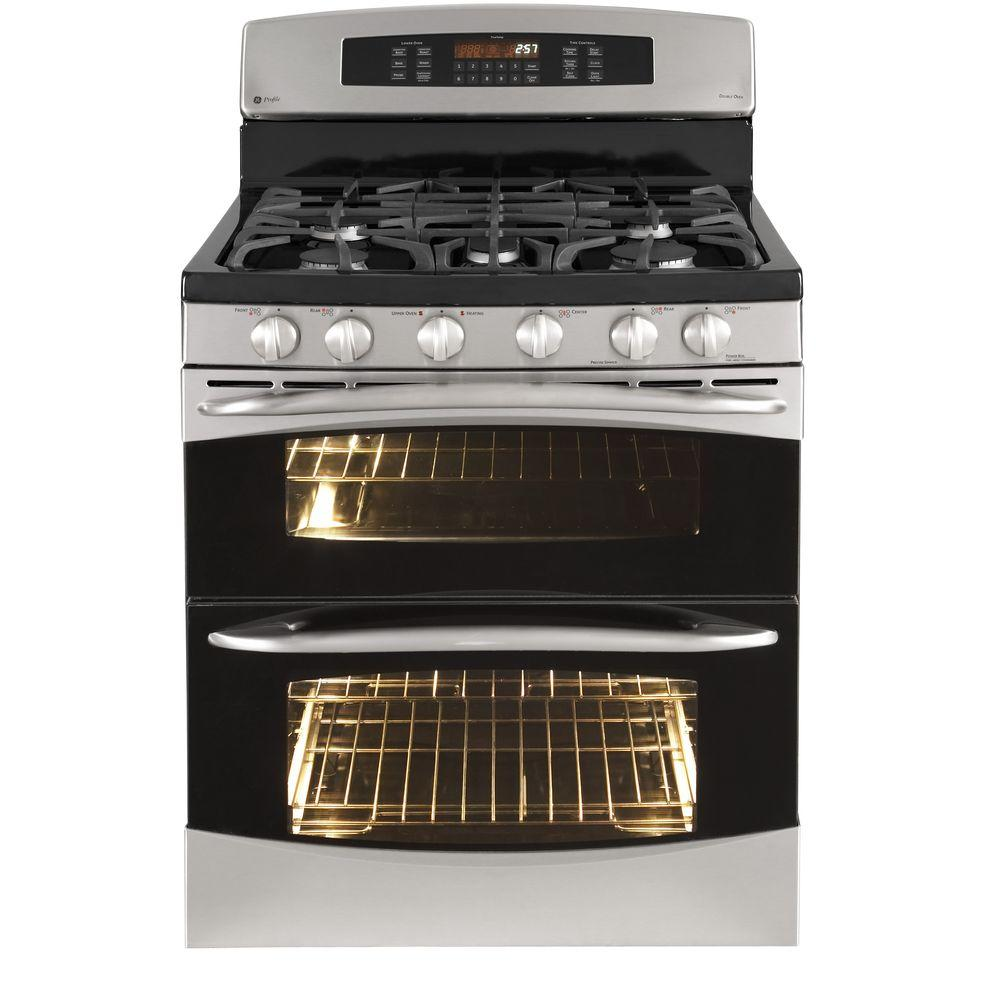 GE Profile 6.7 cu. ft. Double Oven Gas Range with Self-Cleaning Convection Oven in Stainless Steel
