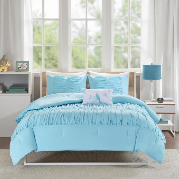 10 Piece Tatiana Blue//Gray//White Comforter Set
