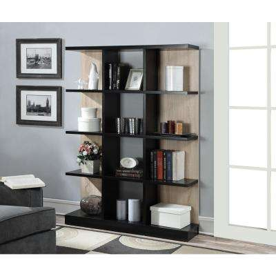 Key West Weathered White and Black 4-Tier Bookcase